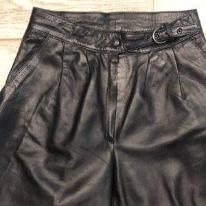 Vintage Pleated High Waist Lambskin Leather Pants